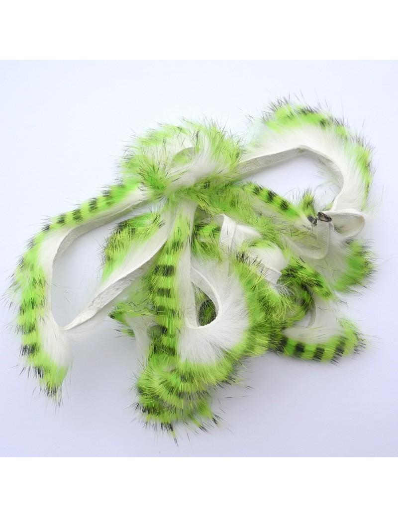 Bandelettes lapin zébrées chartreuse blanc